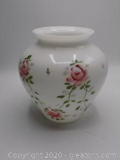 White Glass Vase with Hand Painted Roses