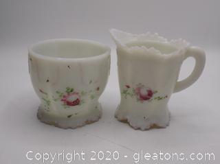 Hand Painted Milk Glass Cream and Sugar Holder