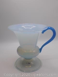 Mid Century Frosted Blue Trophy Vase