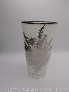 Japanese Style White Glass with Silver Etched Flowers