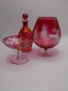 Etched Red Glassware Lot