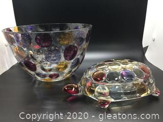 Lot of Beautiful Glasswares Turtle and Bowl