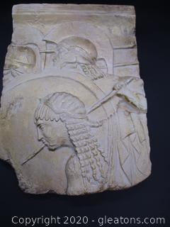 Plaster Wall Hanging of Roman Soldier in Battle