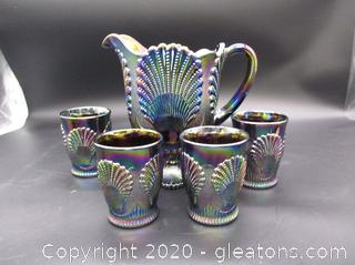 Beaded Mosser Carnival Glass Pitcher and Cups