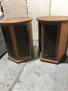 2 Vintage End Tables with Built in Speakers