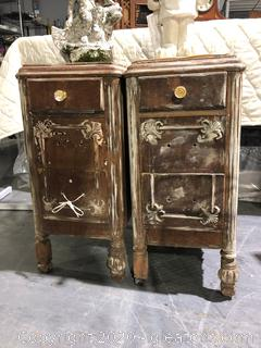 Pair of Antique Shabby Chic End Tables