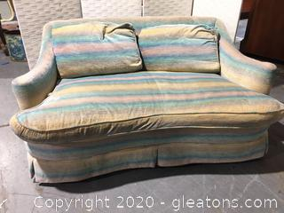 Vintage Henredon Midcentury Striped Skirted Love Seat B