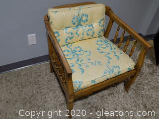 Vintage Wooden Over Sized Accent Chair with Cushions