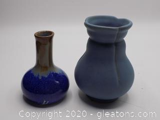 Lot of Weller & Pigeon River Pottery Vases
