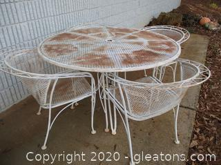 Vintage White Wrought Iron Table and 4 Chairs