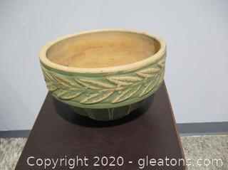 Green Stoneware Pot