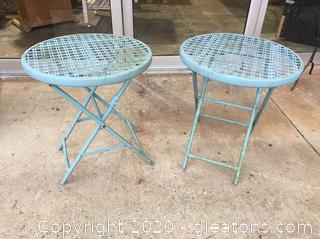 Pair of Vintage Cast Metal Patio Occasional Tables