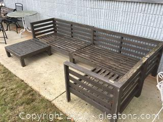 Very Large Outdoor Sectional Sofa and Ottoman