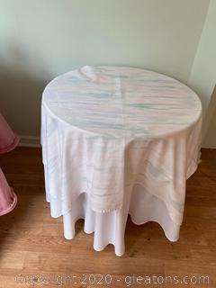 Wooden Table with Custom Made Table Cloth B
