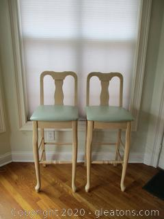 2 Bar Stools with Upholstered Seats
