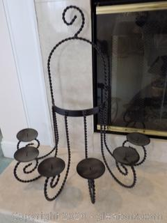 Cast Metal 6 Candle Holder Outdoor/Indoor