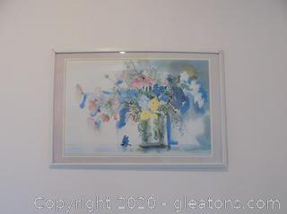 Signed Floral Water Color Print