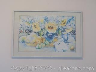 Signed Sunflower Print in White Frame