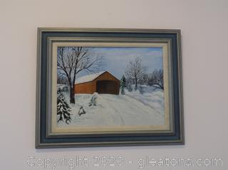 Original Acrylic Painting on Canvas - Winter Scene