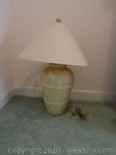 Vintage Urn Style Tan Ceramic Lamp
