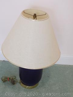 Navy Table Lamp with Shade
