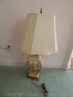 Vintage Porcelain Large Table Lamp with Shade