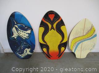 3 Wooden Skim Boards