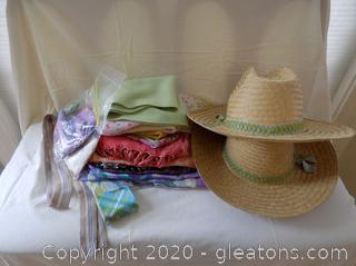 Lot of Silk Scarfs, Hats and Handkerchiefs