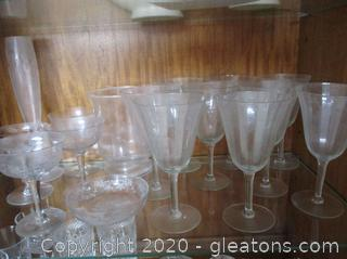 Etched Glassware (16 Pieces)