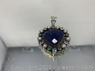 Sapphire, Topaz, Pearl Pendant Set in Sterling Silver