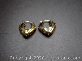 14k Hoop Earrings Pair C