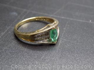 Emerald and Diamond 10k Ring