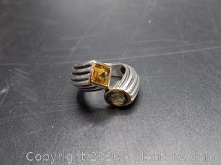 14k Sterling Gemstone Ring By Italian Filli Menegatti