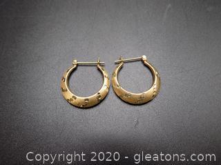 14k Hoop Earrings Pair A