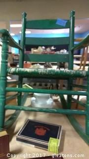 GREEN LOW BACK ROCKING CHAIR