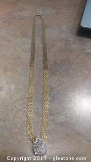LADY'S DIAMOND AND GOLD NECKLACE 10K VERIFIED