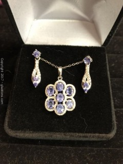 Tanzanite Gift Set, Earrings, Pendant and Necklace