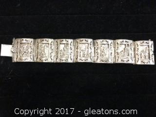 Mexican Silver Bracelet with Scenes