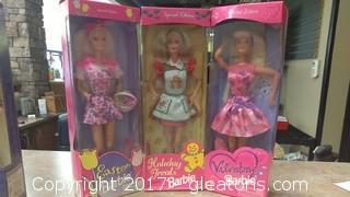 THREE HOLIDAY BARBIE EASTER,VALETINES AND CHRISTMAS