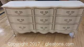 CREAM FRENCH DRESSER WITH MIRROR WITH NINE DRAWERS