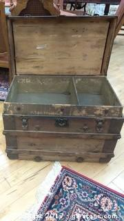 OLD WOOD TRUNK WITH INNER BOX TRAY