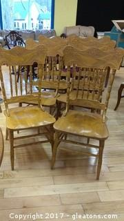 SIX OAK DINNING CHAIRS
