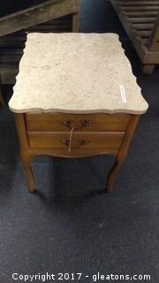 MARBLE TOP END TABLE (1)