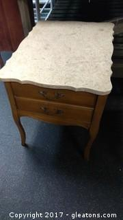 MARBLE TOP END TABLE (2)