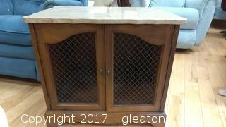 MARBLE TOP NIGHTSTAND WITH WIRE FRONT DOORS