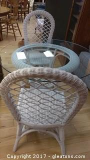 WICKER GLASS TOP TABLE WITH FOUR CHAIRS