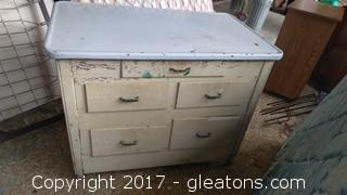 WOOD AND METAL CABINET WITH FIVE DRAWERS