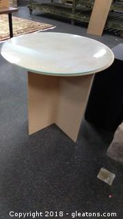 CARDBOARD TABLE WITH GLASS ON TOP