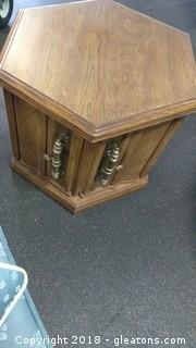 END TABLE WITH TWO DOORS AND BEAUTIFUL HANDLES