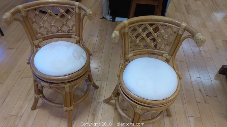 PAIR OF BAMBOO CHAIRS WITH CUSHION SEATS